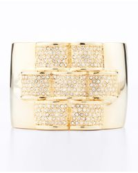 Ann Taylor | Metallic Pave Bar Cuff Bracelet | Lyst