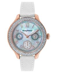 Tommy Bahama | Pink 'waikiki Dream' Crystal Bezel Multifunction Watch | Lyst