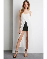 Forever 21 | White Longline Vented Crepe Cami | Lyst