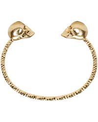 Alexander McQueen | Metallic Gold Twin Skull Bracelet | Lyst