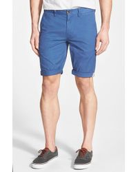 Ben Sherman | Blue Slim Fit Stretch Cuffed Shorts for Men | Lyst