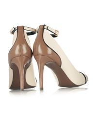 Tory Burch Brown Layne Two-tone Patent-leather Pumps