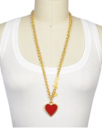 Juicy Couture | Red Enamel Heart Necklace | Lyst