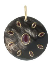 Ashley Pittman | Red Medallion Pendant W/ruby & Garnet | Lyst
