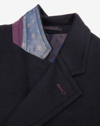 Ted Baker | Blue Wool And Cashmere Overcoat for Men | Lyst