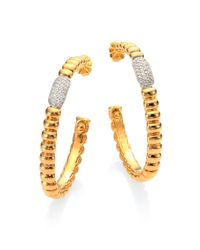 John Hardy | Metallic Bedeg Diamond & 18k Yellow Gold Hoop Earrings/1.75 | Lyst