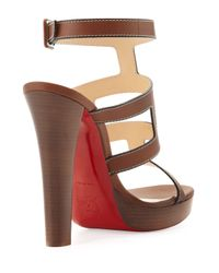Christian Louboutin - Brown Cardamona Ankle-Wrap Red Sole Sandal - Lyst