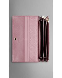 Burberry - Pink Patent London Leather Continental Wallet - Lyst