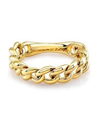 Anne Sisteron | Metallic 14kt Yellow Gold Thin Chain Link Ring | Lyst