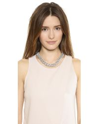 Michael Kors Metallic Pave Curb Link Toggle Necklace - Silver/Clear