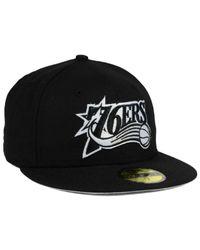 KTZ - Philadelphia 76ers Black White 59fifty Cap for Men - Lyst
