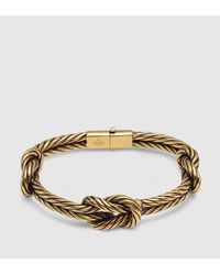 Gucci - Metallic Gold Finished Sterling Silver Knot Bracelet - Lyst