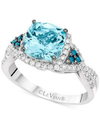 Le Vian | Blue Exotics® Aquamarine (1-3/8 Ct. T.w.) And Diamond (1/3 Ct. T.w.) Ring In 14k White Gold | Lyst