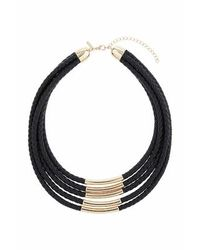 TOPSHOP | Black Plait Cord And Bar Multi-row Necklace | Lyst