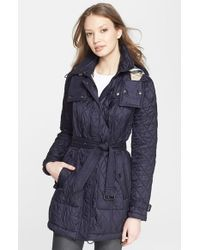 Burberry Brit | Blue 'finsbridge' Belted Quilted Jacket | Lyst