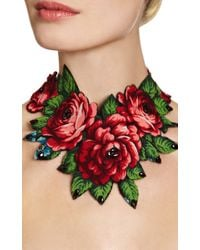 Masterpeace - Green Vintage Fabric and Amber Stone Necklace - Lyst