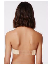 Missguided Natural Kaza Strapless Clear Back Strap Bra Nude