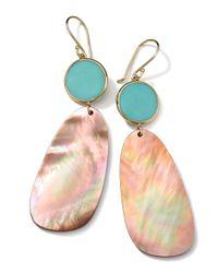 Ippolita Metallic 18K Gold Ondine 2-Drop Earrings In Turquoise/Brown Shell