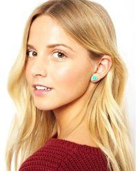Orelia - Green Carved Rose Stud Earrings - Lyst