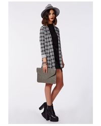 Missguided Gray Oversized Envelope Clutch Bag Grey