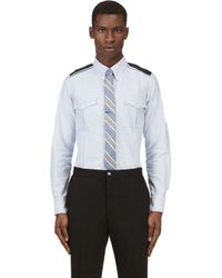 Thom Browne Blue Embroidered Epaulet Button Down Shirt for men