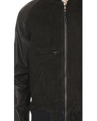 Billy Reid Black Finn Leather Bomber Jacket for men
