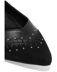 Rebecca Minkoff Black Fiama Embellished Suede And Leather Point-toe Flats