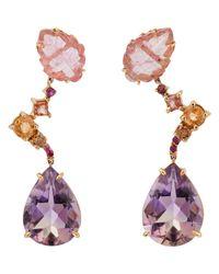 Sharon Khazzam | Purple Women's Dew Triple-drop Earrings | Lyst