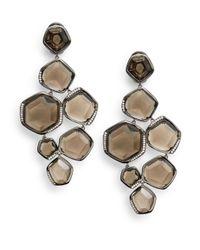 Ippolita - Gray Smoky Quartz Pavé Diamond Chandelier Earrings - Lyst