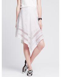 Banana Republic   White Eyelet-hem Angled Skirt   Lyst