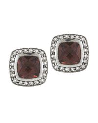 David Yurman - Metallic Pre-owned: 7mm Cushion Albion Pink Tourmaline And Diamond Earrings - Lyst