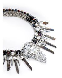 Assad Mounser - Metallic Multi Chain Crystal And Spike Necklace - Lyst