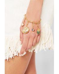 Aurelie Bidermann - Green 18-karat Gold Multi-stone Shell Charm Bracelet - Lyst