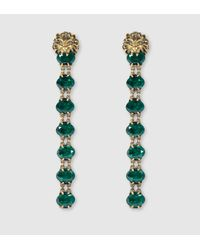 Gucci | Green Lion Head Earrings With Crystals | Lyst