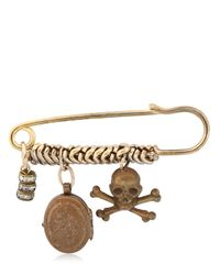 Maria Zureta - Metallic Skull & Crossbones Bronze Safety Pin - Lyst