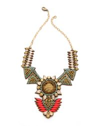 Deepa Gurnani | Orange Crystal Statement Drop Necklace Coralgold | Lyst