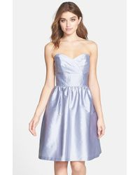 Alfred Sung | Gray Strapless Satin Fit & Flare Dress | Lyst