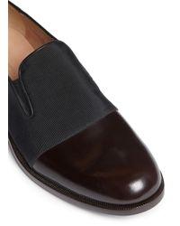 Dries Van Noten Brown Grosgrain Vamp Leather Slip-ons for men