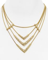 Alexis Bittar | Metallic Pavé Encrusted Snake Chain Layered Bib Necklace, 15"