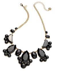 kate spade new york | Gold-tone Black Stone Frontal Necklace | Lyst