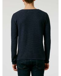 TOPMAN | Blue Navy Twist Gridstitch Crew Neck Jumper for Men | Lyst