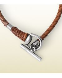 Gucci Brown Leather Wrap Bracelet With Horsebit Toggle Closure for men