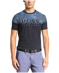 BOSS Green | Blue T-shirt: 'tee 6' In Cotton Blend for Men | Lyst