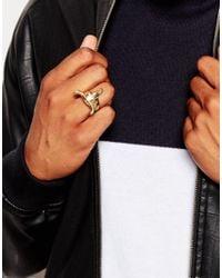 ASOS - Metallic Gold Plated Bull Head Ring for Men - Lyst