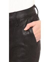 Rag & Bone Dash Slouchy Leather Trousers - Black Suede