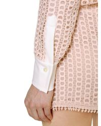 See By Chloé - Pink Cotton Lace & Crepe Shirt - Lyst