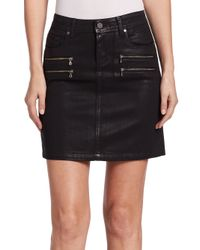 PAIGE Black Edgemont Coated Denim Pencil Skirt