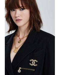Nasty Gal - Metallic Vintage Chanel Rhinestone Embellished Logo Pin - Lyst