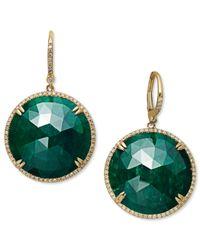 Macy's | 14k Gold Earrings, Dyed Green Corundum Sapphire (42 Ct. T.w.) And Diamond (1/2 Ct. T.w.) Circle Earrings | Lyst