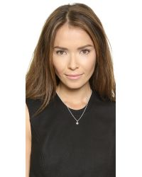 Helen Ficalora - Metallic Heart With Diamond Charm - Silver - Lyst